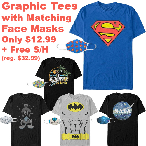 Graphic Tee with Matching Face Mask Sets