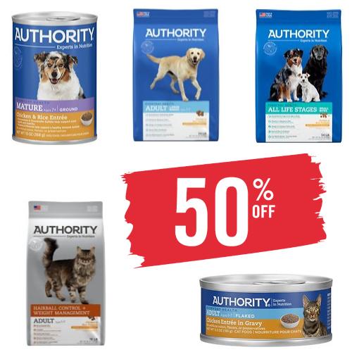 authority pet food sale