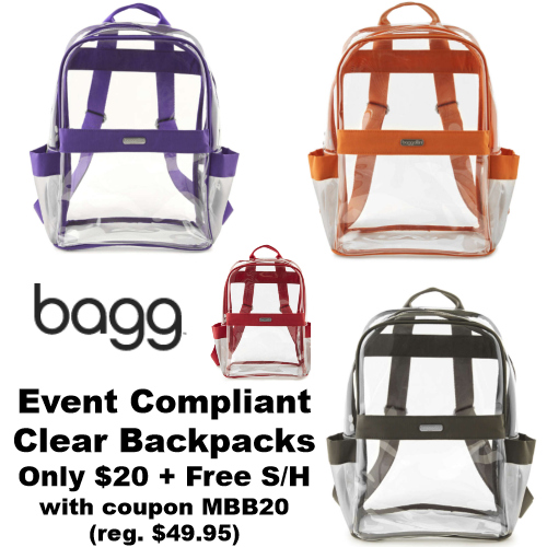 event compliant clear backpacks
