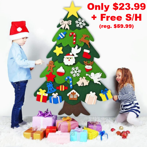 felt christmas tree wall decor for kids